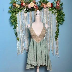 Free People Boho Shell Tie Back Mini Dress Medium